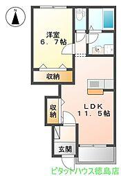 徳島県徳島市北矢三町3の賃貸アパートの間取り