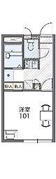 滋賀県大津市雄琴6の賃貸アパートの間取り