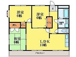 徳島県徳島市上助任町三本松の賃貸マンションの間取り