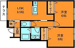 ソレアードすみれ野2[1階]の間取り