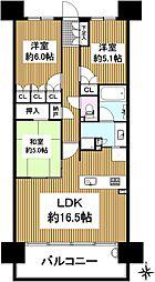 京都桂川つむぎの街ブライトスクエア 14階3LDKの間取り