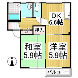 Maison des bois A・B[2階]の間取り