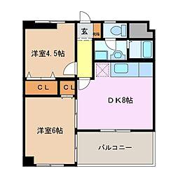 CASA KAWAGE[3階]の間取り