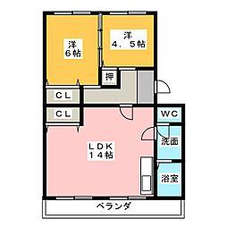 コーポ三立[4階]の間取り
