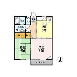セジュール三本柳[2階]の間取り