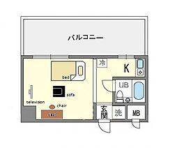 家具・家電付き グランピア天神 B[6階]の間取り