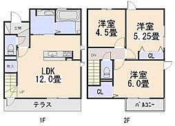 [テラスハウス] 京都府木津川市相楽台2丁目 の賃貸【/】の間取り