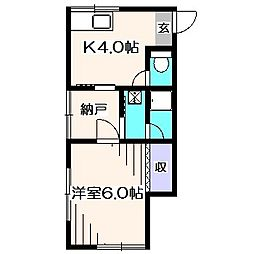 ひばりハイム[1階]の間取り