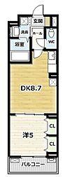 ルーミナス京田辺 2階1DKの間取り