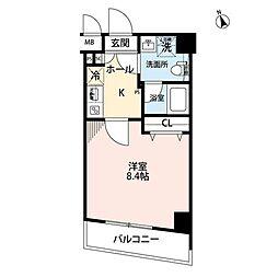 JR京浜東北・根岸線 上中里駅 徒歩6分の賃貸マンション 3階1Kの間取り