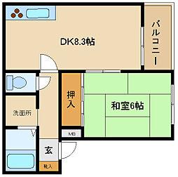 兵庫県姫路市飾磨区城南町2丁目の賃貸アパートの間取り