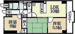 京都府宇治市莵道谷下りの賃貸マンションの間取り