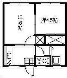 月見ヶ丘アパート[102号室]の間取り