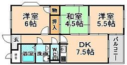 兵庫県伊丹市荻野8丁目の賃貸マンションの間取り
