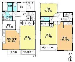[一戸建] 千葉県船橋市宮本1丁目 の賃貸【/】の間取り