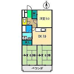 コーポ田中5号館[2階]の間取り