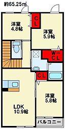 ホワイトバレー東二島[2階]の間取り