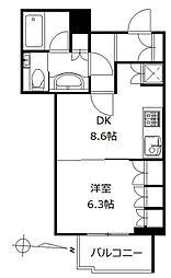 アトラスタワー西新宿 4階1DKの間取り