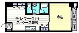 JR宇野線 大元駅 徒歩15分の賃貸マンション 8階1DKの間取り