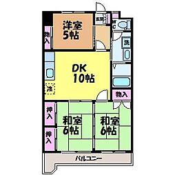 愛媛県松山市古川西2丁目の賃貸マンションの間取り