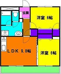 静岡県磐田市鳥之瀬の賃貸マンションの間取り