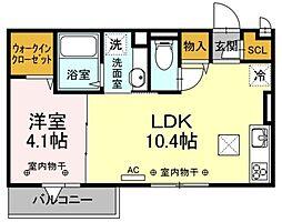 マ・メゾンV 2階1LDKの間取り