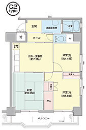 横浜若葉台[3-6-606号室]の間取り