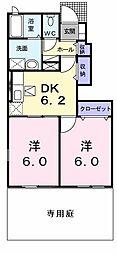 岩手県奥州市江刺愛宕字境畑の賃貸アパートの間取り