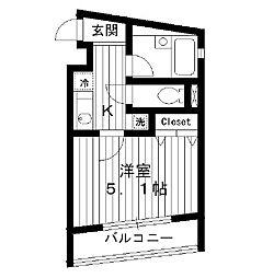 東京都新宿区中落合の賃貸マンションの間取り