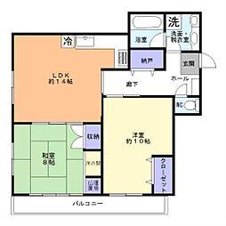 ウイング上福岡[702号室]の間取り