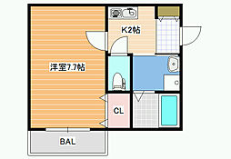 JPアパートメント松原[2階]の間取り