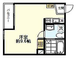 JR南武線 矢川駅 徒歩6分の賃貸アパート 1階ワンルームの間取り