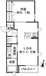 京急空港線 糀谷駅 徒歩14分の賃貸マンション 2階1LDKの間取り