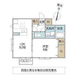 (仮)D-roomよしわら A 1階1LDKの間取り