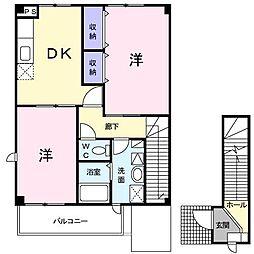 [大東建託]カレントフラウア[2階]の間取り