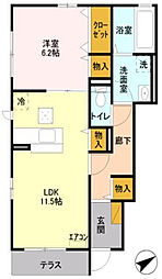 神奈川県海老名市上郷1丁目の賃貸アパートの間取り