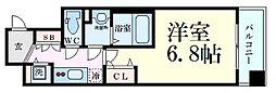 Osaka Metro四つ橋線 四ツ橋駅 徒歩5分の賃貸マンション 14階1Kの間取り
