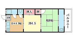 大阪府豊中市庄内宝町2丁目の賃貸アパートの間取り