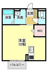 JR東海道本線 浜松駅 バス14分 浜松学院大学下車 徒歩6分の賃貸アパート 1階ワンルームの間取り