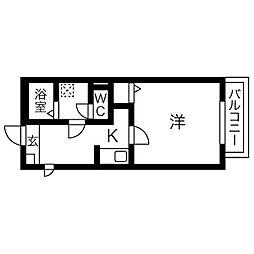 Gallery庄内通 3階1Kの間取り