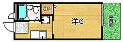 大阪府茨木市南安威2丁目の賃貸アパートの間取り