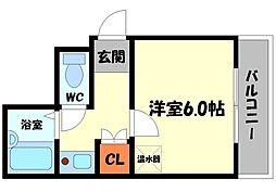 サンティール太子橋駅前 6階1Kの間取り