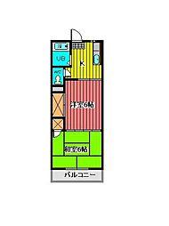埼玉県蕨市塚越7丁目の賃貸マンションの間取り