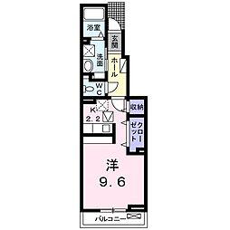 愛知県名古屋市緑区鳴海町字中汐田の賃貸アパートの間取り