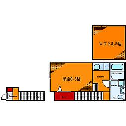 東京都墨田区東墨田2丁目の賃貸アパートの間取り