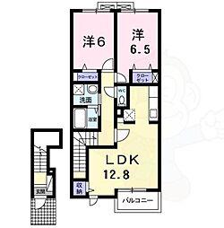 エフティナイン 2階2LDKの間取り
