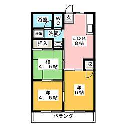 愛知県小牧市東4丁目の賃貸アパートの間取り