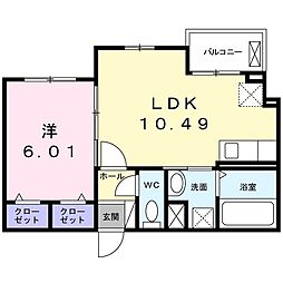 さくら館 2階1LDKの間取り