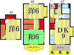 プランタン六笠B[201号室]の間取り