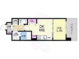 京都市営烏丸線 九条駅 徒歩7分の賃貸マンション 4階1DKの間取り